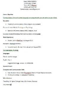 un rsum en anglais exle resume exemple cv pour stage