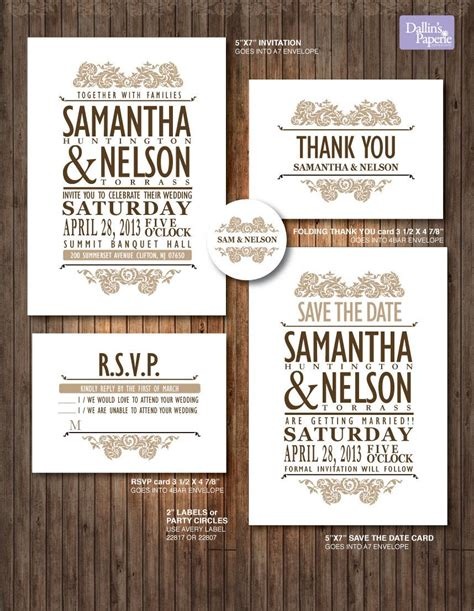 Vintage Lace wedding Invitation RSVP Thank your card