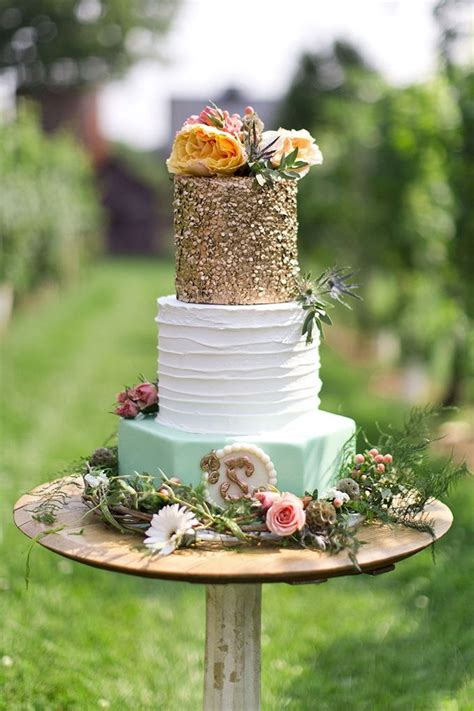 Wedding Cake Inspiration Mint And Gold Diy Weddings