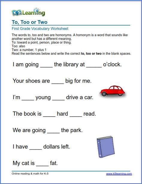 grade 1 vocabulary worksheet use of to or two k5