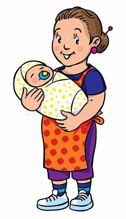 Nanny Clip Coloring Babysitter Divertente Ett Barn
