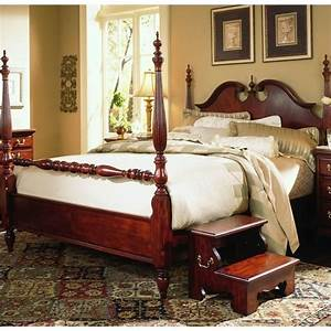 Cherry grove low poster bed in classic cherry finish 791 for Queen anne bedroom furniture