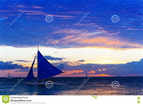 Sailboat At Sea by Amazing Sunset At Sea Sailboat Editorial Stock Image
