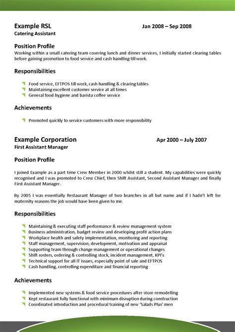 Resume Template Hospitality Australia by We Can Help With Professional Resume Writing Resume