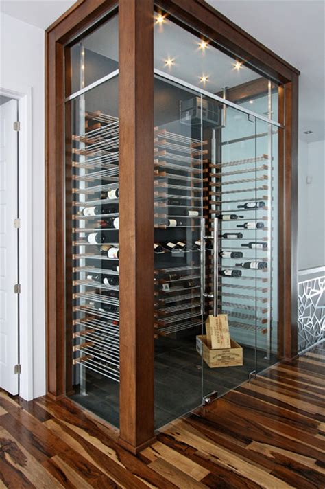glass wine cellar   living room  contemporary