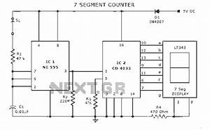 counter circuit meter counter circuits nextgr With the circuit diagram of a seven segment counter based on the counter ic
