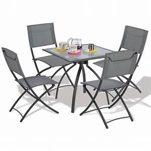 Chaises De Jardin En Soldes : table de jardin pliante avec chaises ~ Teatrodelosmanantiales.com Idées de Décoration