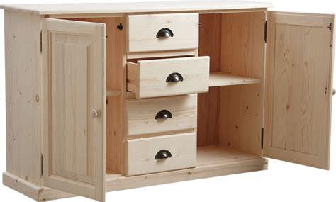 buffet cuisine en bois meuble bois brut 2 portes 4 tiroirs