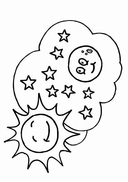 Moon Stars Coloring Sun Pages Fun Worksheets