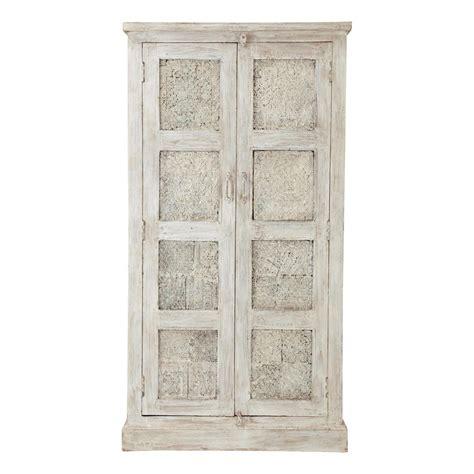 meuble rangement chambre bébé armoire en manguier blanche effet vieilli l 90 cm taj