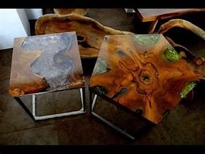 RECLAIMED TEAK WOOD CRACKED RESIN SIDE TABLES - YouTube