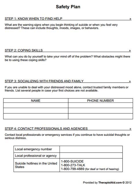 Therapy Safety Plan Template by Safety Plan Therapist Aid