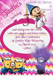 Agnes Unicorn Minion Party Invite  Agnes  Unicorn  Minions  Despicable Me  3rd Birthday Pdf