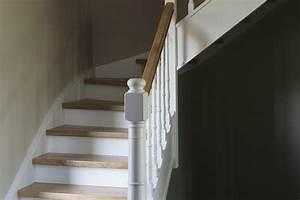 Escalier Bois Blanc : d 39 hondt interieurescalier quart tournant blanc en bois dans un style cottage d 39 hondt interieur ~ Melissatoandfro.com Idées de Décoration