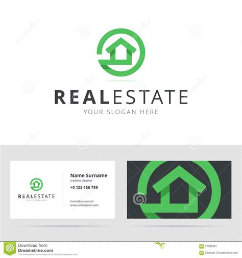real estate logo  business card template stock vector