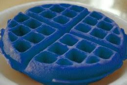 blue colored waffle ck food cooking