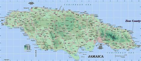 large detailed road  physical map  jamaica jamaica