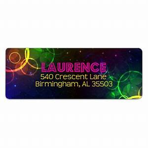 Neon Bubbles Over Night Sky Return Address Labels