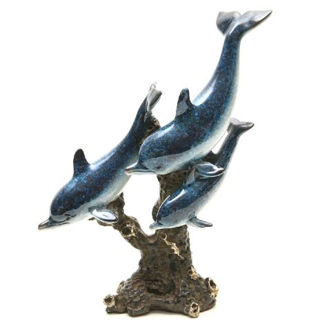 dolphin statues three swimming blue dolphins statue