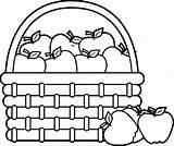 Picnic Basket Coloring Apple Drawing Fruit Printable Baskets Rocks Getdrawings Getcolorings sketch template