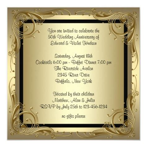 Elegant Gold 50th Wedding Anniversary Party Invitation
