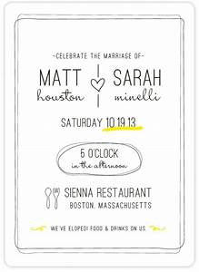 quotbistroquot customizable wedding invitations in yellow by With wedding invitations 2nd time around