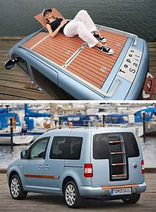 Vw Caddy Alltrack Camper : caddy van featuring with a wooden boat deck on the roof of car ~ Jslefanu.com Haus und Dekorationen