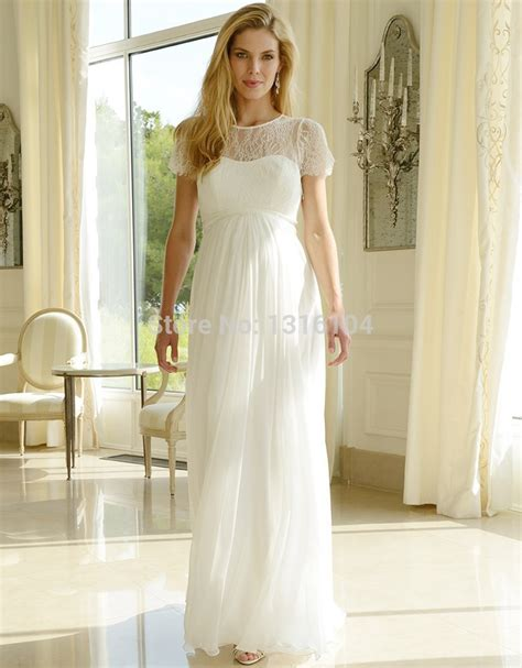 empire wedding dresses 2016 cheap modest lace chiffon maternity wedding 3901