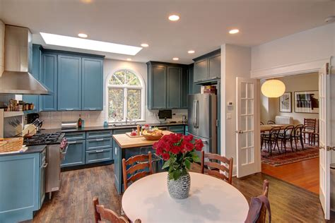 eclectic kitchen designs blue kitchen cabinets kitchen eclectic with arched window 3521