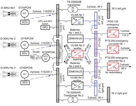 block diagram of electric power system of tu 154m 16