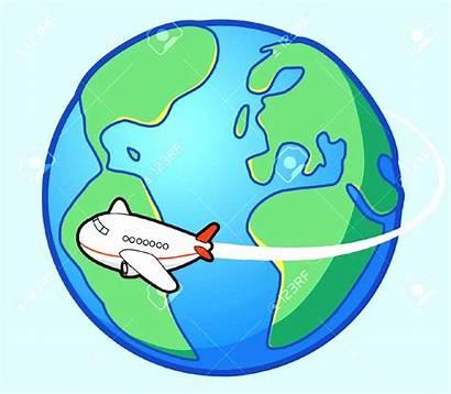 Around Clipart Travel Cartoon Airplane Cliparts Vector