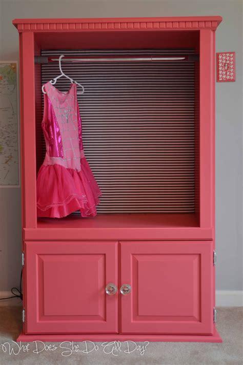 upcycled tv cabinet turned dress  clothes wardrobe diy