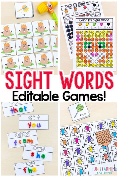 editable sight word that are 383 | Editable Sight Word Games Pin