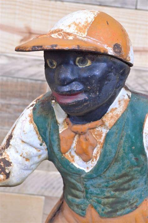 antique cast iron lawn jockey authentic black