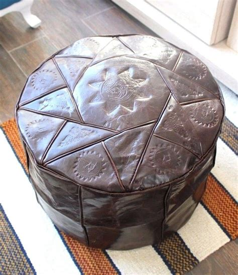 Hassock Ottoman Footstool by Brown Handmade Moroccan Pouf Genuine Leather Pouffe