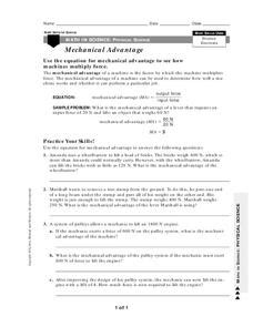 Mechanical Advantage Worksheet For 10th  12th Grade  Lesson Planet