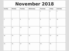 November 2018 Calendar Word calendar template excel