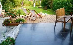 Kombinierte holz stein terrasse mit hornbach for Terrasse stein holz kombination