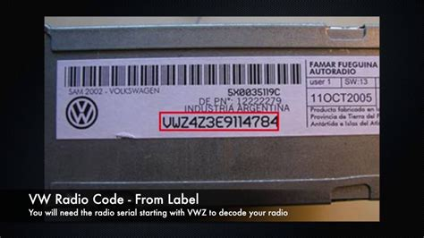 volkswagen vw radio codes from serial number vwz golf