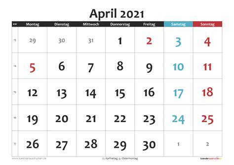 Kalender dezember 2021 zum ausdrucken mit ferien. Kalender April 2021 zum Ausdrucken Kostenlos - Kalender 2021 zum Ausdrucken