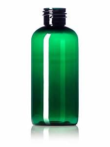 B349G : 4 oz green PET boston round bottle with 24