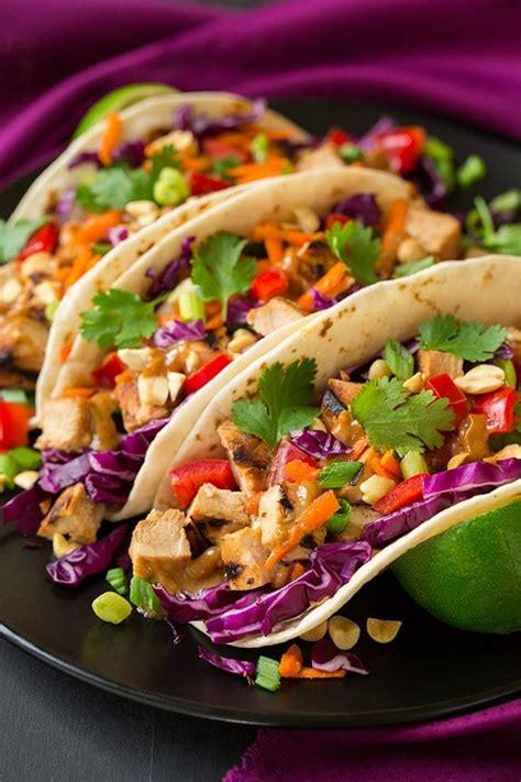 thai chicken tacos  peanut sauce cooking classy