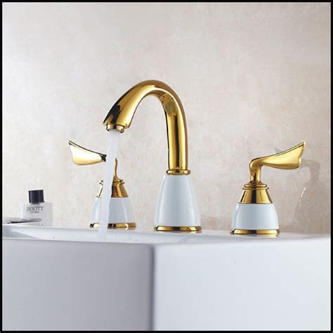 Gold Plated Bathroom Fixtures by 3pcs Faucet Set Fashion Gold Plated Copper White Brass