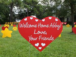 welcome home display flamingos 2 go With welcome home yard letters
