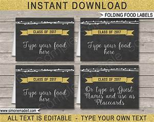 graduation party food labels place cards editable With food label template for party