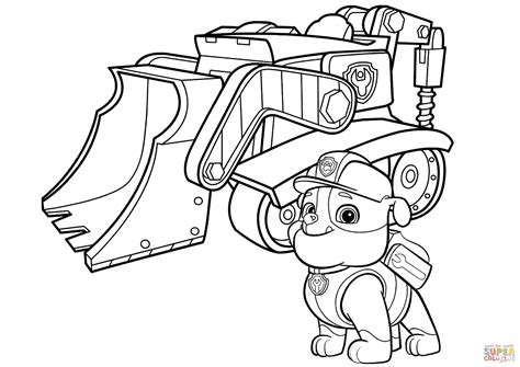 Rubble and his machine Paw patrol coloring Paw patrol