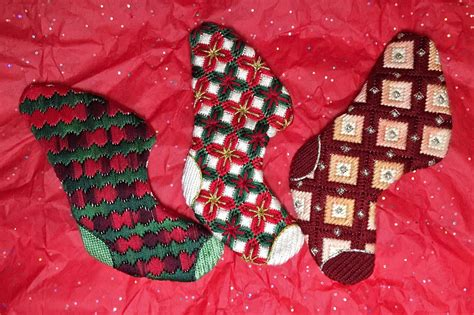 3 Free Christmas Stocking Ornaments Needlepoint Designs