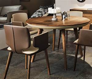 Round, Wood, And, Leather, Dining, Table