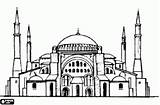 Mosque Minarets Draw Mosques Drawings Domes Building Ottoman Architecture Medieval Coloring Istanbul Sketches Colouring Oncoloring Turkish sketch template