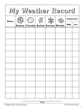 weather record chart printable charts signs  skills